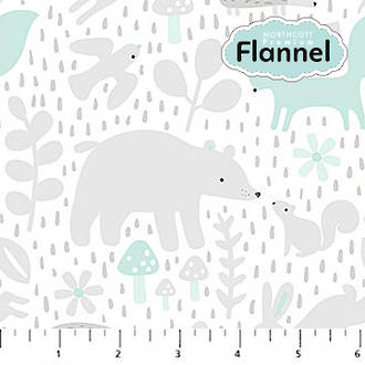 F22692-61 WHITE TURQUOISE FLANNEL